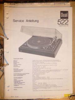 Service Manual Dual 522 Plattenspieler,ORIGINAL