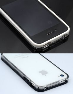 Black White transparent Bumper Tasche Case Cover for Apple iPhone 4S 4