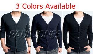Men Stylish Long Sleeve slim T Shirt fit knit V neck buttons cardigan