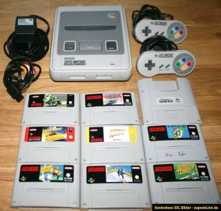 Super Nintendo SNES Grau inkl. 8 Spiele Mario Original 2 Controller
