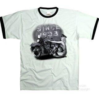 Biker Oldtimer Vintage Pin Up Harley Klassiker Motorrad Bike T Shirt