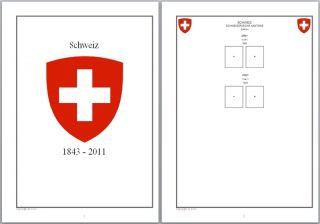 Vordruckblätter Schweiz 1843   2011 & Gebiete auf CD in WORD und PDF