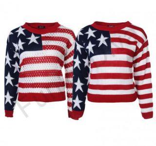Pullover Damen Langärmelig USA Strick Amerika Flagge 36 38 40 42 Rot