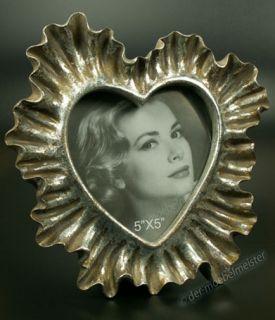 Bilderrahmen Fotorahmen Herz Rahmen silber Holz Deko Koralle Antik