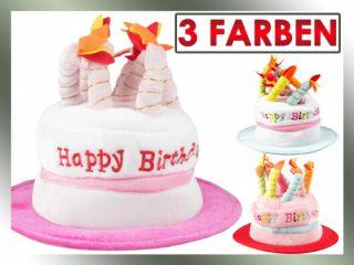 Plüsch Hut mit 8 Kerzen Happy Birthday Torte Geburtstag Partyhut