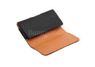 Black Magnetic Belt Clip Holster PU Leather Pouch Case Cover For