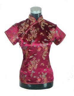 Blue Chinese style womens Blouse top shirt with Dragon S M L XL XXL