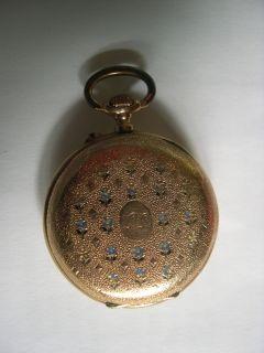 Taschenuhr um 1900 Gehaeuse 14 Kt Gold 585 mit emailierten Veilchen
