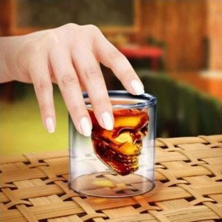 Crystal Skull Head Vodka Shot Glass Drinking Ware Home Bar Cup Mug 2.5