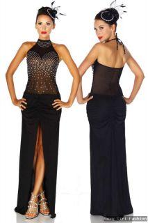 Gogo Style maxi langes elegantes transparentes Netz Kleid mit Strass