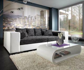 XXL Sofa Marlen 300x140 cm Weiss Schwarz Big Sofa XXL Couch Design
