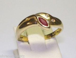 Echt Rubin Brillant Ring Gold 585 14kt LP609 NEU Juwelier Rubinring