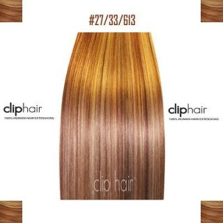 20 CLIP IN HUMAN HAIR EXTENSIONS,BLONDE MIX  27/33/613