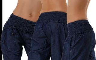 Neu Pumphose Harem Hose Damen Harem Aladin dark blue Jeans 34 36 38 40