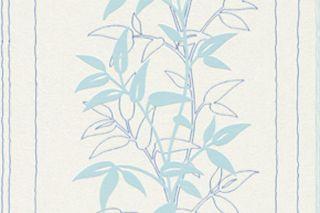 ROLLEN VLIES Tapete Leaf Weiß Blau