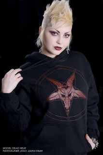 HOODED SWEATSHIRT GOTHIC HOODIE PENTAGRAM FREAKS 666 OCCULT ODDITIES