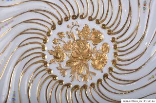 Meissen Prunkteller Blumen Ranken & Gold Relief, 1.Wahl, Knaufzeit