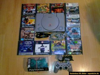 SONY PLAYSTATION 1 PSX PS1 KONSOLE FAT + ALLE KABEL + 2 CONTROLLER