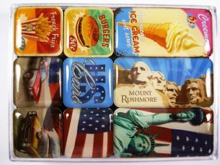 NOSTALGIC ART MAGNETE SET 9 TEILE AMERICAN WAY OF LIFE NEU