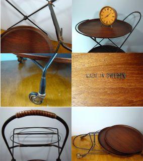 mid century MODERN scandinavian bar cart serving teak & iron design