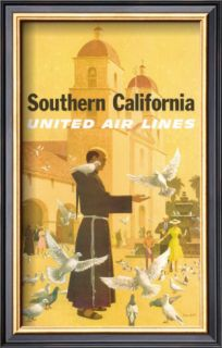 United Airlines Southern California, Franciscan Monk and Spanish Mission Prints by Stan Galli