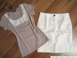 Heine Stretch Rock Weiß + trendy Shirt Gr. 40 NEU NEU