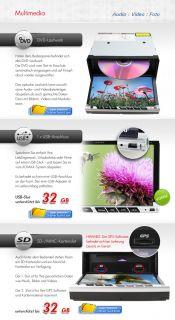 2DIN 18cm/7HD Touchscreen DVD RDS AUTORADIO GPS NAVI Dual Zone USB SD
