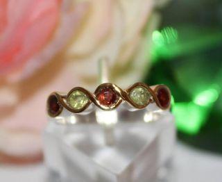 Granat Peridot Ring echt 925/  Silber teilvergoldet Gr (60)   19,1 mm