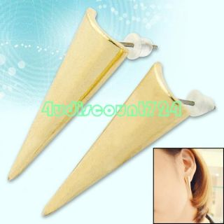 Ladys Vintage Gold Tone Pyramid Triangle Earrings Studs Body Piercing
