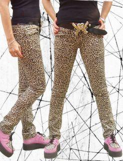 Jeans Hose Stretch Leoparden Muster Emo Punk Rock Gr. 42