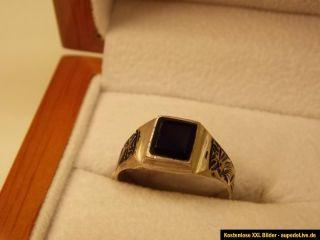 900 er Massiv Silber Ring mit ONYX aus PERSIEN / IRAN Gr. 63 Innend
