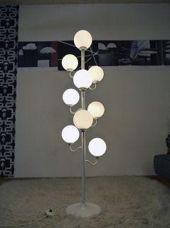 70er Glas Kugeln STEHLAMPE Atomic Floor Lamp Design Panton Eames 70s