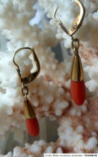 JOH3/ Art Deco Ohrringe Ohrschmuck 333 Gold Koralle Perlen Engelshaut