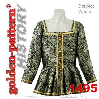 History sewing pattern MEDIEVAL DOUBLET / WAMS (ca.1495) Men Boys