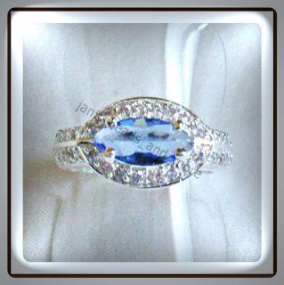 Edler Navette Fire Blautopas Weißtopas Silber Ring 925/  Gr. 17,8 mm