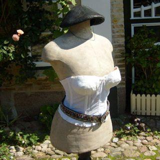 Antik Korsett Corsage Mieder weiß Spitze scandale 79cm