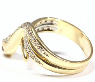 14kt 585 Goldring Schlange Schlangenring Gold Rubin Diamant Damen Ring