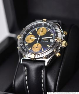 Breitling Windrider Chronomat 81950 in Stahl / Gold Lederband 26