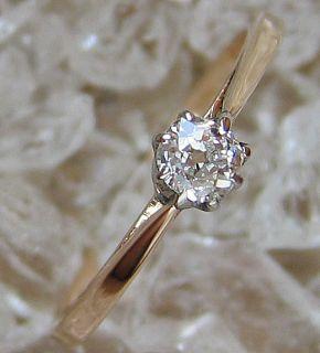 Goldringe Artdecoring um 1920 Solitaer altschliff Diamant Ring 14kt
