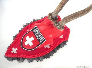 Geweih ♥ SWITZERLAND ♥ UNIKAT Schweiz, Wappen, rot REHBOCK REH
