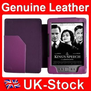Purple Genuine Cow Leather Case Cover for  Kindle 4 4th Wifi