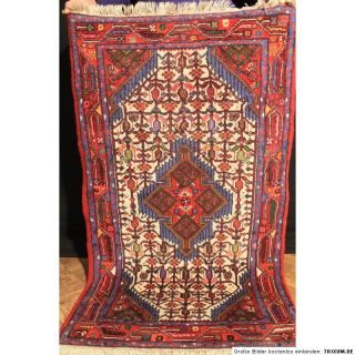 Handgeknüpfter Perser Teppich Senneh Bidjar Iran Carpet Rug 75X130cm