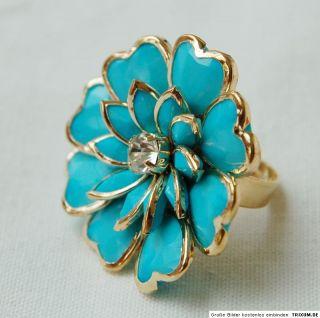 NEU XXL 3 D Blumen Ring türkis/gold Strass uni Größe