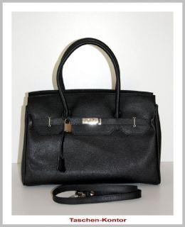 Edle ital. Handtasche Kelly Bag Leder Tasche schwarz XL