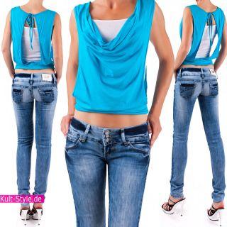 Sexy RÖHRENJEANS DAMEN Jeans Hose BLUE 32 40 NEU #525