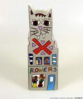 James Rizzi Cat a Flower Vase Porzellan, Goebel Artis Orbis