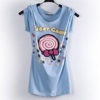 New Summer Korean Japanese Lollipop Candy Cute Jumper Casual Shirt Top