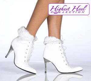 Damenschuhe Stiefelette Ankles High Heels ST095 weiß white