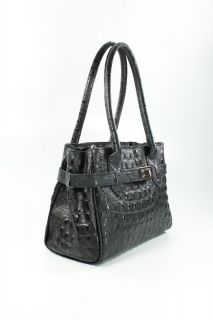 Ital Echt Leder Tasche elegante Mini Kelly Bag Handtasche schwarz