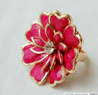 NEU XXL 3 D Blumen Ring flamingo/gold Strass uni Größe